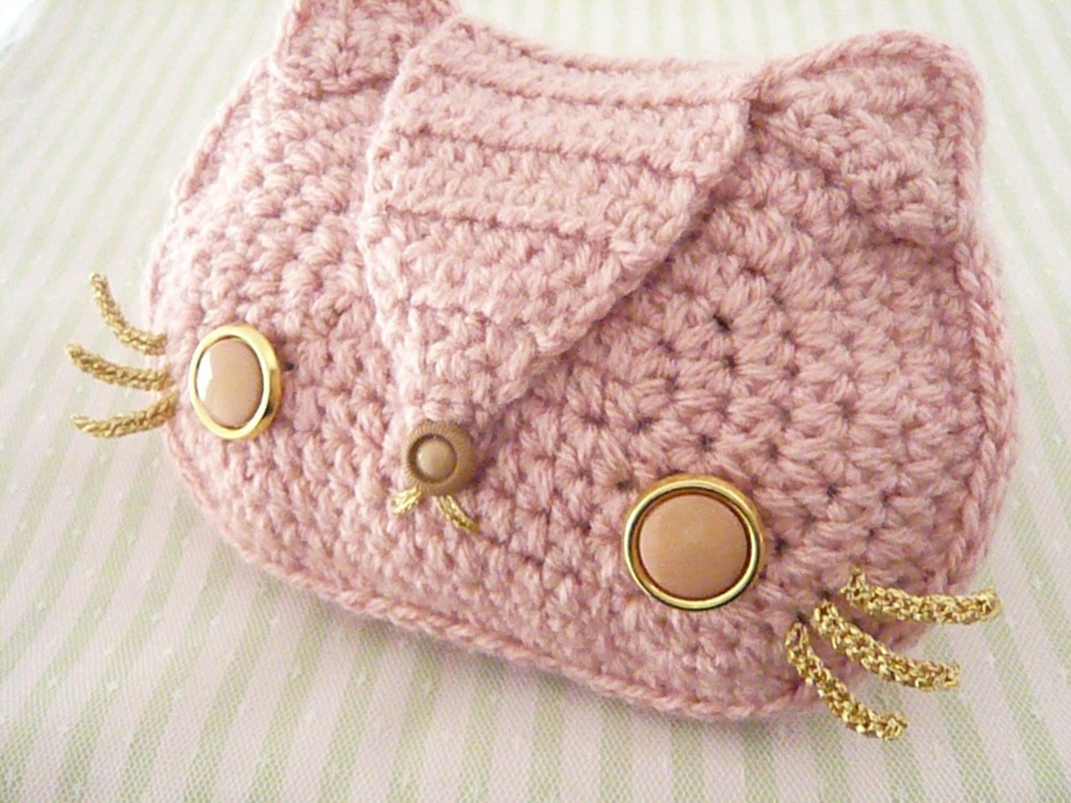 Crochet Handbags New Baby Pink Kitty Cat Crocheted Purse with Gold Chain and Of Beautiful 48 Ideas Crochet Handbags