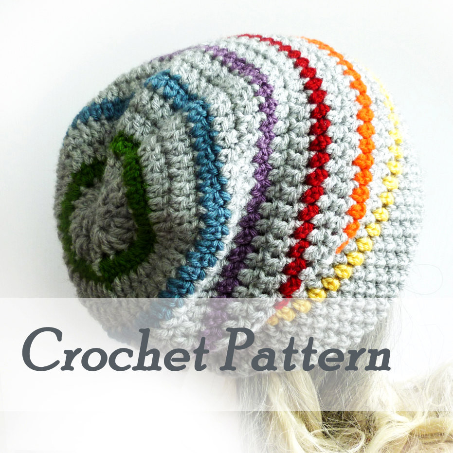 Crochet Hat Patterns for Beginners Inspirational Instant Download Crochet Pattern Slouchy Happy Rainbow Beanie Of Gorgeous 48 Ideas Crochet Hat Patterns for Beginners