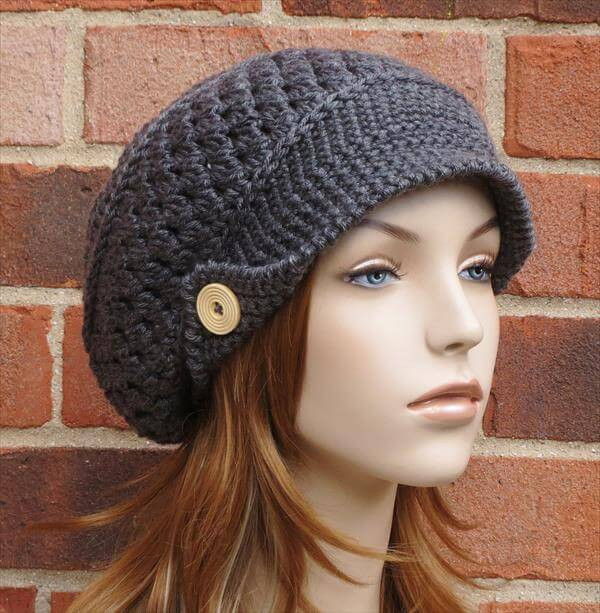Crochet Hat with Brim Lovely Crochet Slouchy Newsboy Hat Brimmed Beanie Of Marvelous 46 Ideas Crochet Hat with Brim