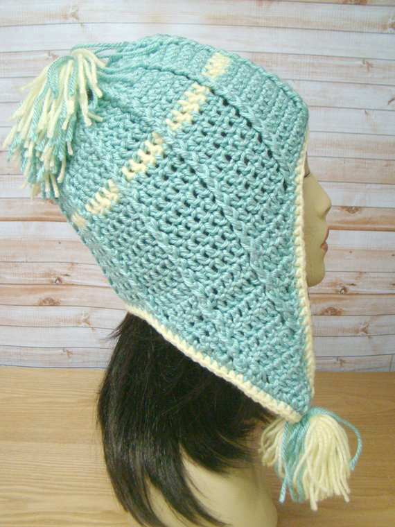 Crochet Hat with Ear Flaps Beautiful Crochet Hat Ear Flaps Turquoise Yellow with Tassels Etsy Of Delightful 50 Pictures Crochet Hat with Ear Flaps