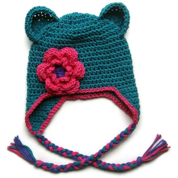 Girls Cotton Crochet Ear Flap Beanie Hat with Ears and Ties