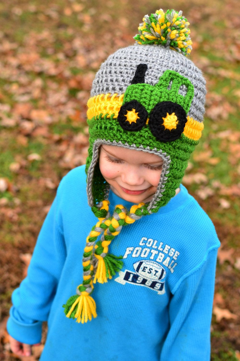 Crochet Hats for Kids Lovely Crochet Tractor Earflap Hat with Pompom Sizes Baby to Of New 45 Ideas Crochet Hats for Kids