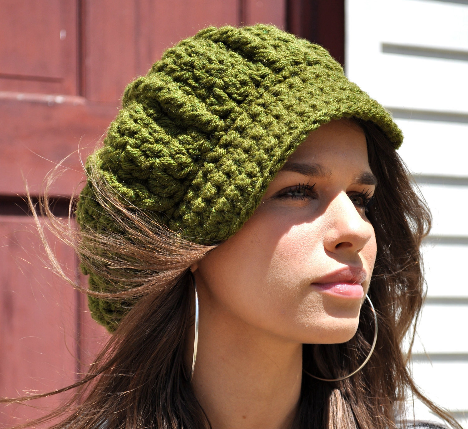 Crochet Hats for Women Lovely Women S Crochet Newsboy Hat with Brim Olive Green Hat Of Perfect 33 Ideas Crochet Hats for Women