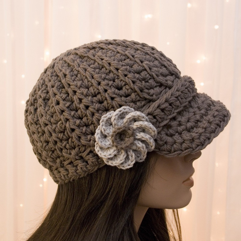 Crochet Hats for Women New Cotton Crochet Newsboy Hat with Flower for Women Pick Of Perfect 33 Ideas Crochet Hats for Women