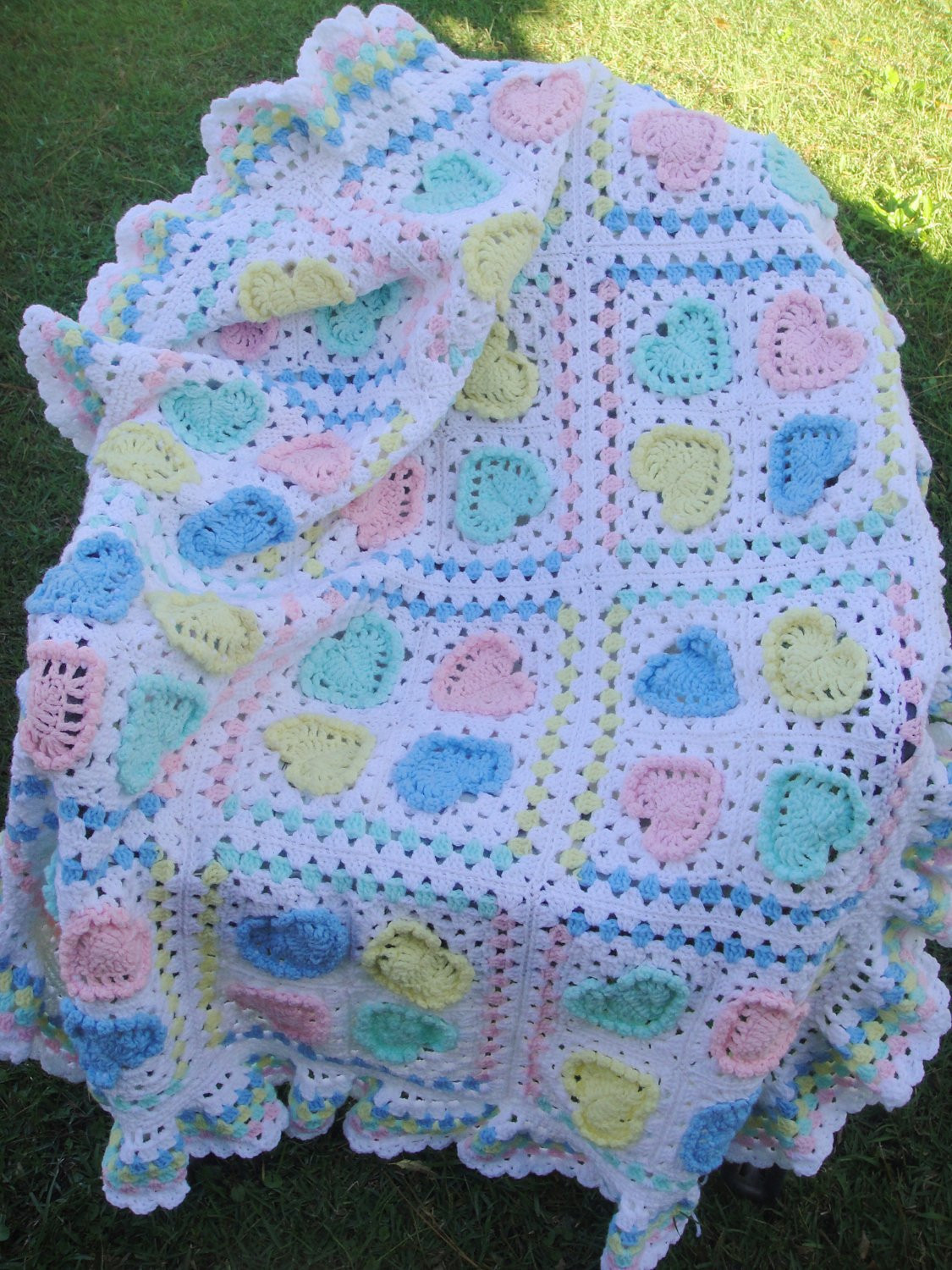 Crochet Heart Afghan Inspirational Pastel Granny Squares and Hearts Blanket Afghan Lap Blanket Of Adorable 47 Pictures Crochet Heart Afghan