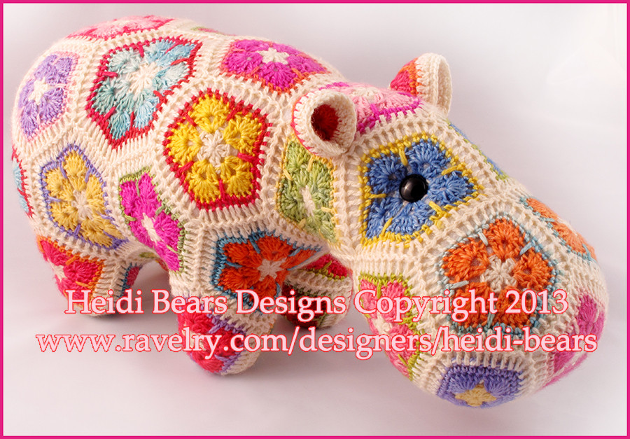 Heidi Bears Happypotamus the happy Hippo crochet Pattern
