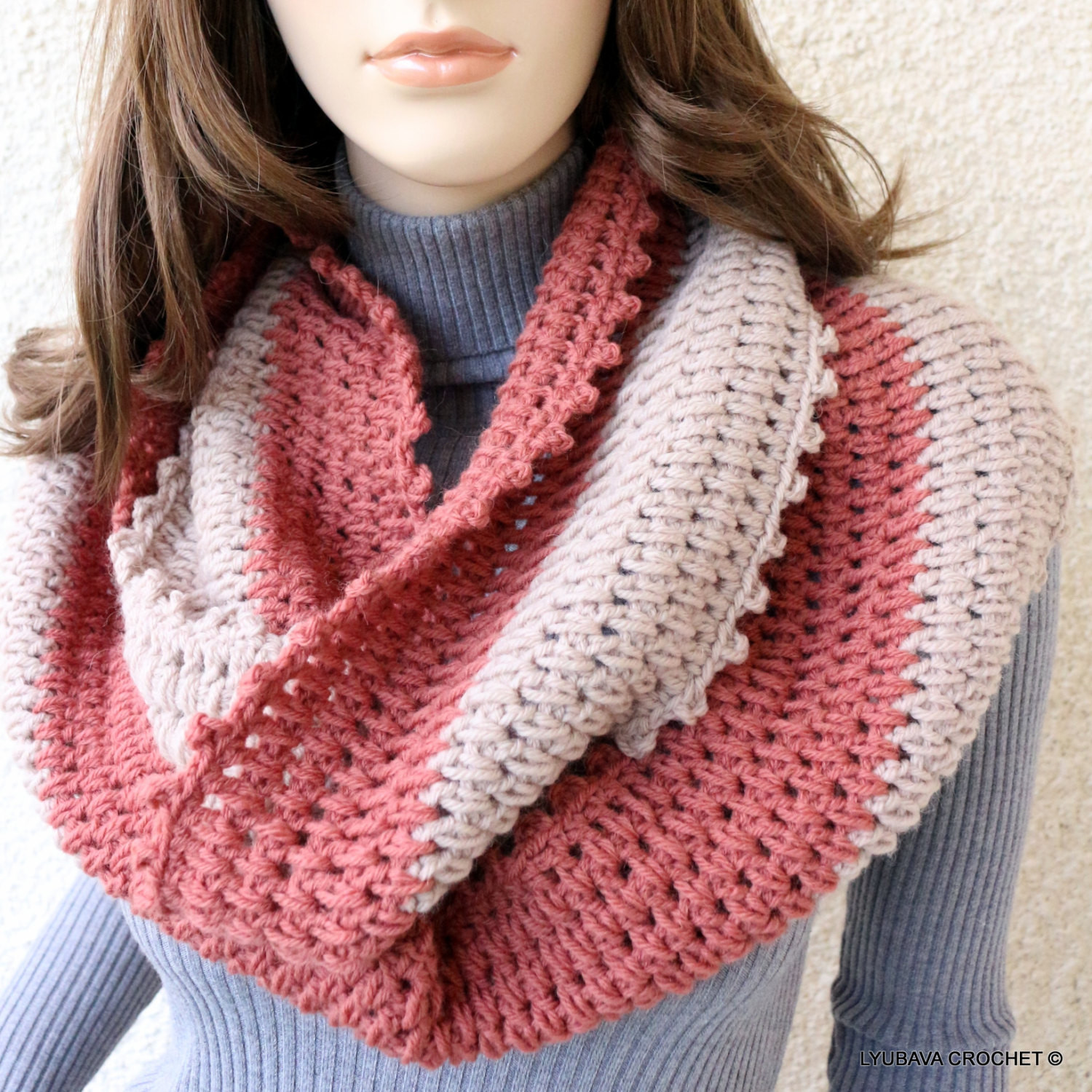 Crochet Infinity Scarf Luxury Crochet Scarf Infinity Scarf Two Colors Circle Scarf Hand Of Fresh 46 Pics Crochet Infinity Scarf