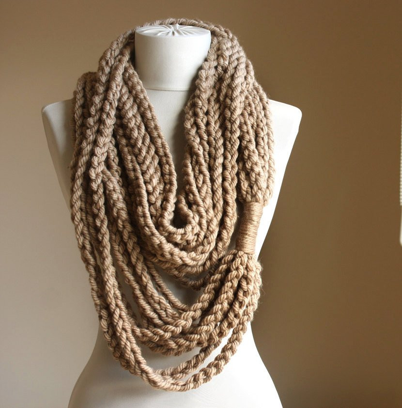 Crochet Infinity Scarves Luxury Beige Crochet Scarf Infinity Chain Scarf Oatmeal Winter Of New 44 Photos Crochet Infinity Scarves