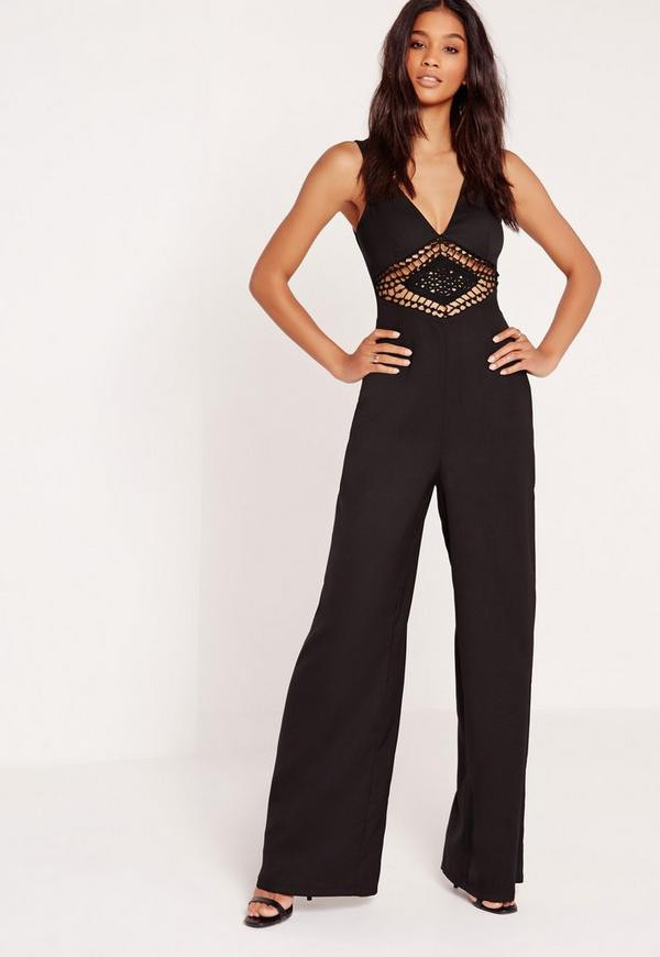 Crochet Jumpsuit Best Of Crepe Crochet Detail Waist Jumpsuit Black Of Amazing 49 Pictures Crochet Jumpsuit