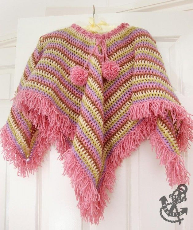Extremely Easy Kids Crochet Poncho with Tear Drop Corner