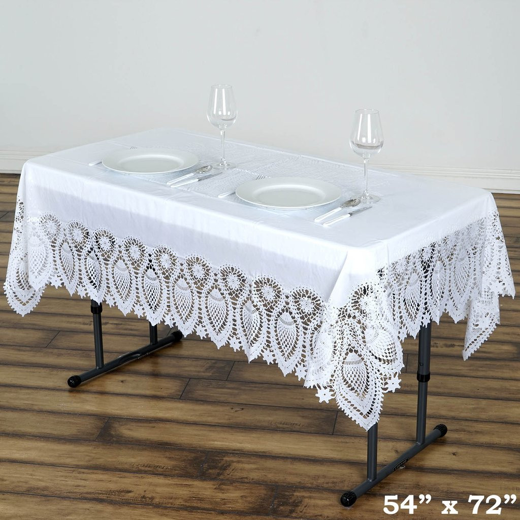 "Crochet Lace Tablecloth Awesome 54×72"" Crochet Lace Vinyl Tablecloth Wedding Table Linens Of Unique 41 Models Crochet Lace Tablecloth"