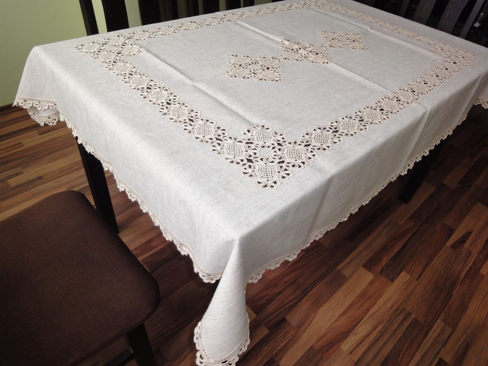 Crochet Lace Tablecloth Best Of Antique Handmade Ecru Linen Tablecloth with Cotton Crochet Of Unique 41 Models Crochet Lace Tablecloth
