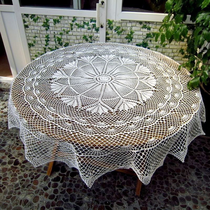 "Crochet Lace Tablecloth Best Of Handmade Crochet Lace Tablecloth 170cm 67"" Round Of Unique 41 Models Crochet Lace Tablecloth"