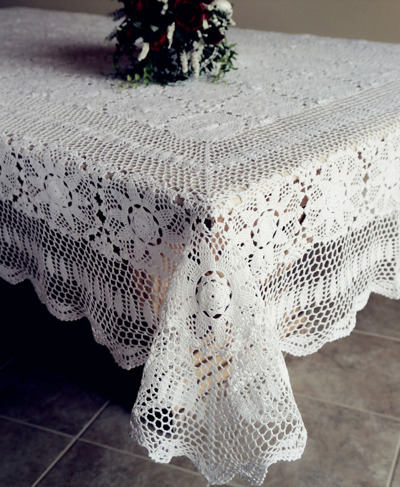 Crochet Lace Tablecloth Lovely Vintage Handmade Cotton Crochet Lace Tablecloth White Of Unique 41 Models Crochet Lace Tablecloth