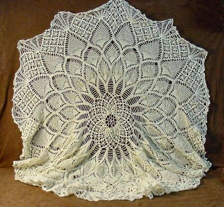 shopgoodwill Round Crocheted Pineapple Pattern Lace