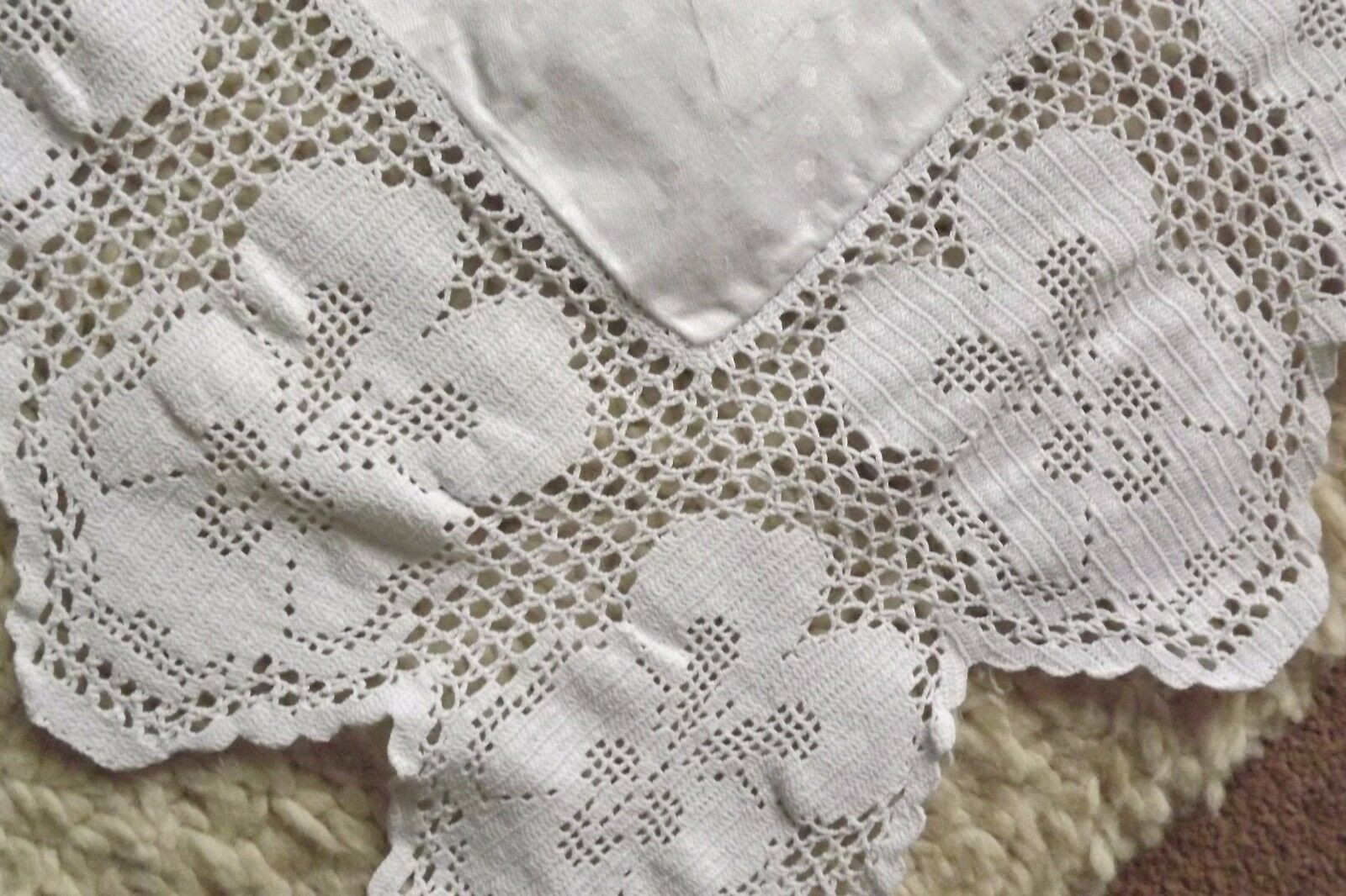 Antique Irish Linen And Crochet Lace Tablecloth