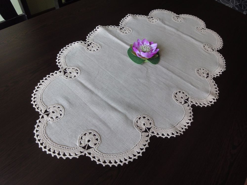 Beautiful Vintage Handmade Ecru Linen Tablecloth with