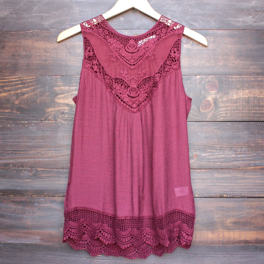 Crochet Lace Tank top Awesome Gypsy Crochet Lace Gauzy Sleeveless Tank top In Burgundy Of Incredible 41 Images Crochet Lace Tank top