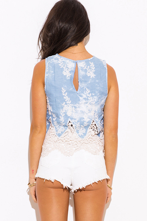 Crochet Lace Tank top Beautiful Shop Light Blue Washed Chambray Embroidered Crochet Lace Of Incredible 41 Images Crochet Lace Tank top