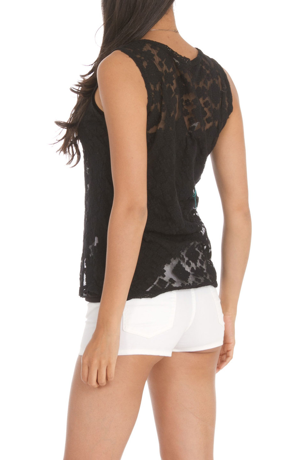 MONORENO BY MUR Detachable Inset Crochet Lace Tank Top in