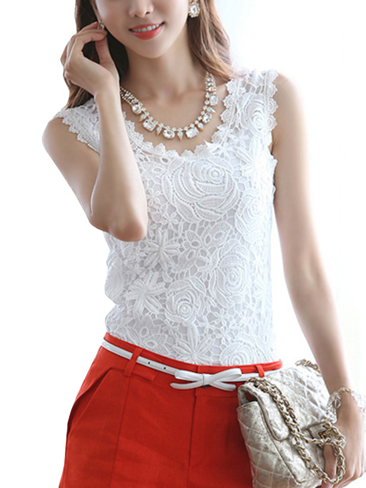 Crochet Lace Tank top New Casual Slim Lace Crochet solid Color Sleeveless Women Vest Of Incredible 41 Images Crochet Lace Tank top