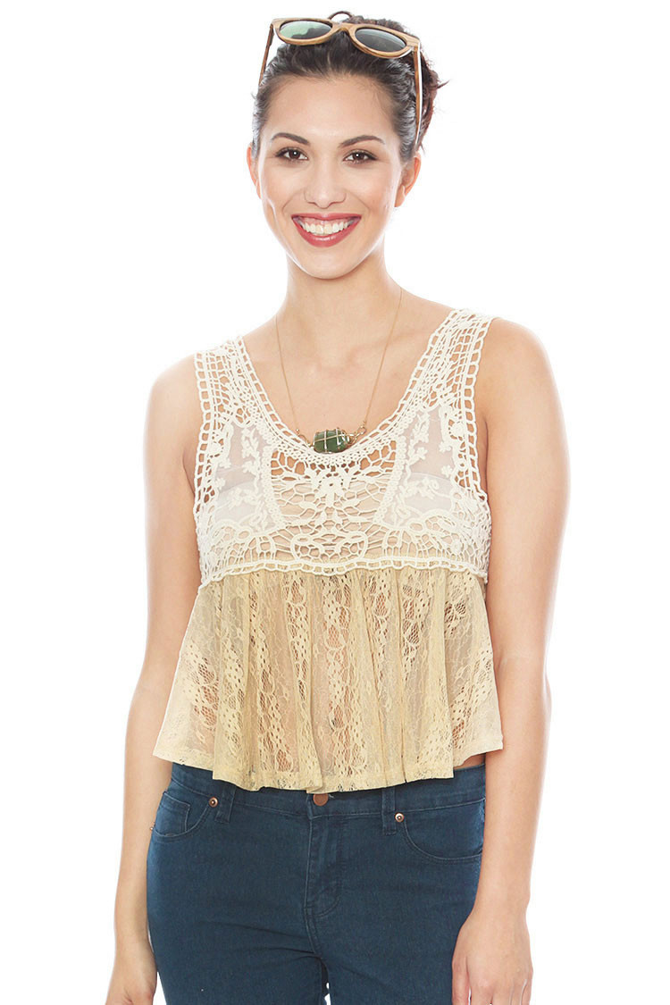 Crochet Lace Tank top New Crochet Lace Shirred Crop Tank Tanks & Camis Of Incredible 41 Images Crochet Lace Tank top