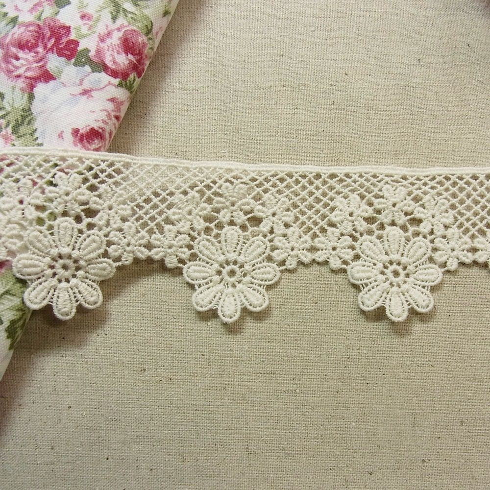 1 yds Antique St Scalloped Embroidery Cotton Fabric