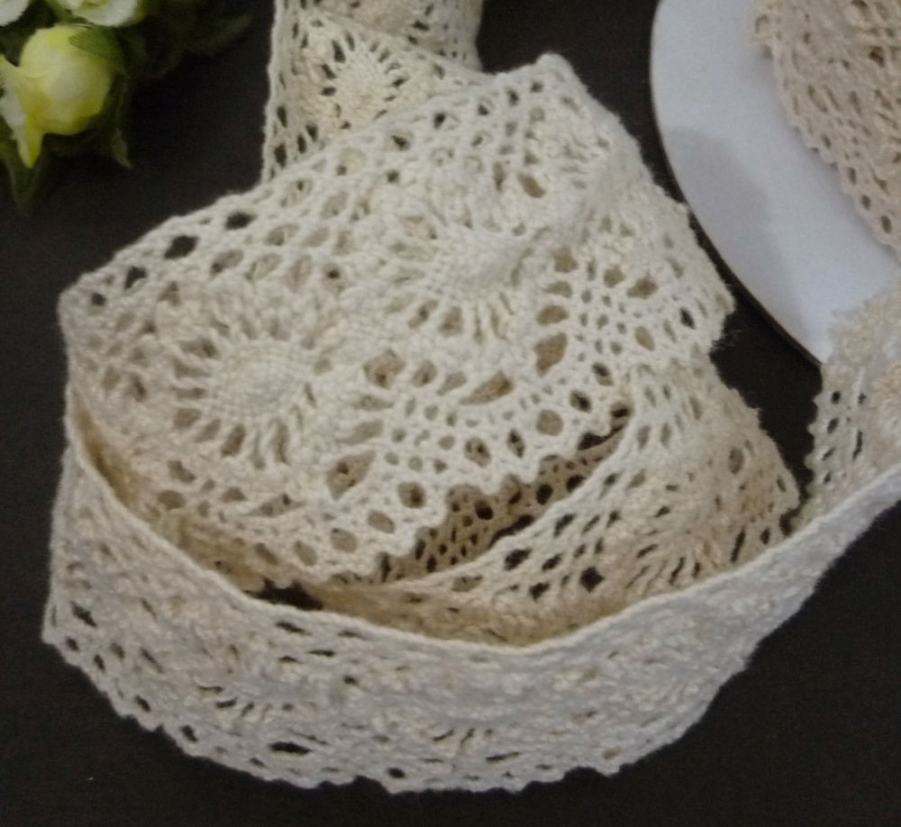 """Crochet Lace Trimming Lovely Non Stretch Beige Crochet Cotton Lace Trim Craft 1 1 2"""" 3 Of Superb 50 Pics Crochet Lace Trimming"""