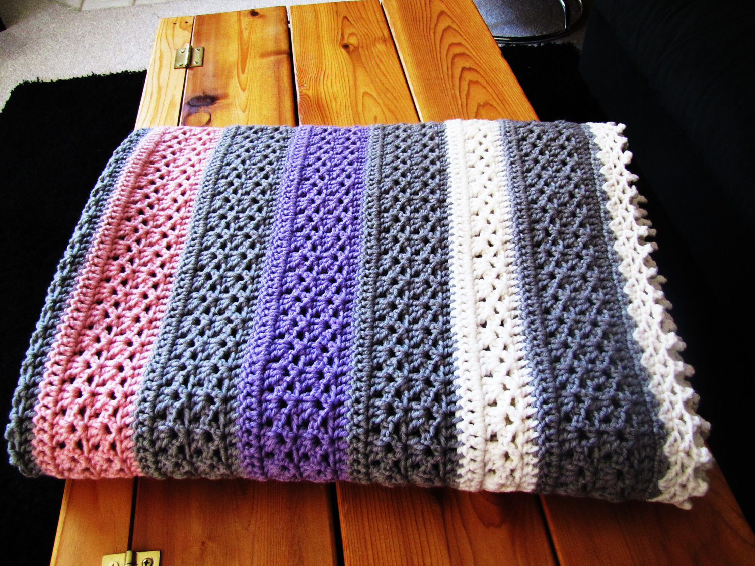 Crochet Lap Blanket Luxury Vintage Pink Gray Ivory and Purple Crochet Afghan by Of Awesome 46 Pics Crochet Lap Blanket