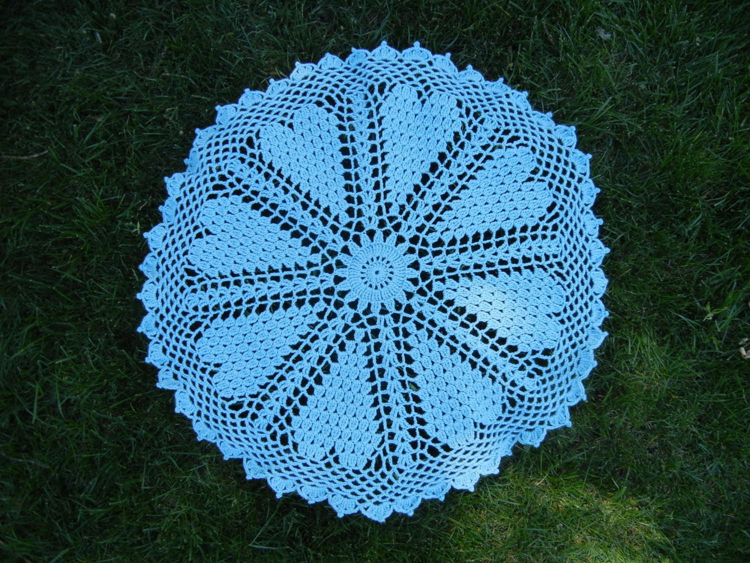 Crochet Round Blue Baby Blanket or Lap Throw