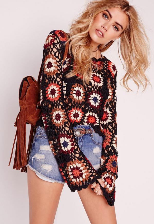 Crochet Long Sleeve top Awesome Crochet Multi Flower Long Sleeve top Rust Of Contemporary 50 Models Crochet Long Sleeve top