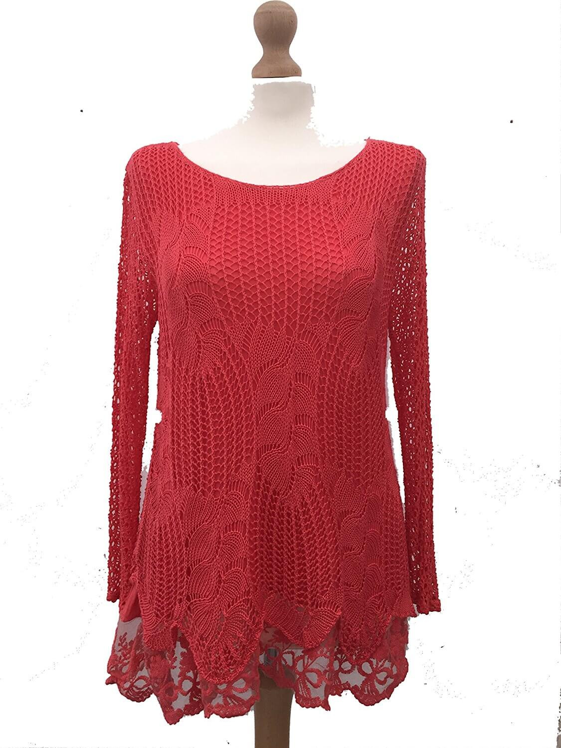 Crochet Long Sleeve top Awesome La S Coral Crochet Lace Long Sleeve top Made In Italy Of Contemporary 50 Models Crochet Long Sleeve top