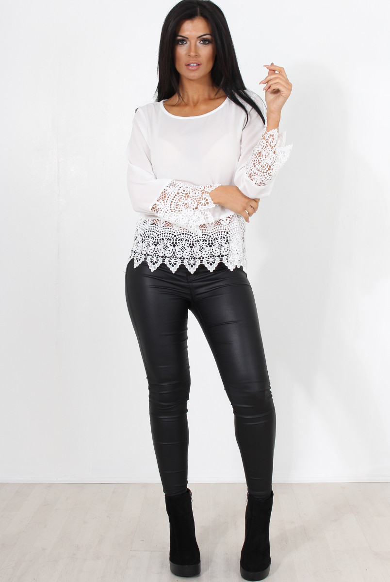 Crochet Long Sleeve top Awesome Zerin White Crochet Long Sleeve top Of Contemporary 50 Models Crochet Long Sleeve top