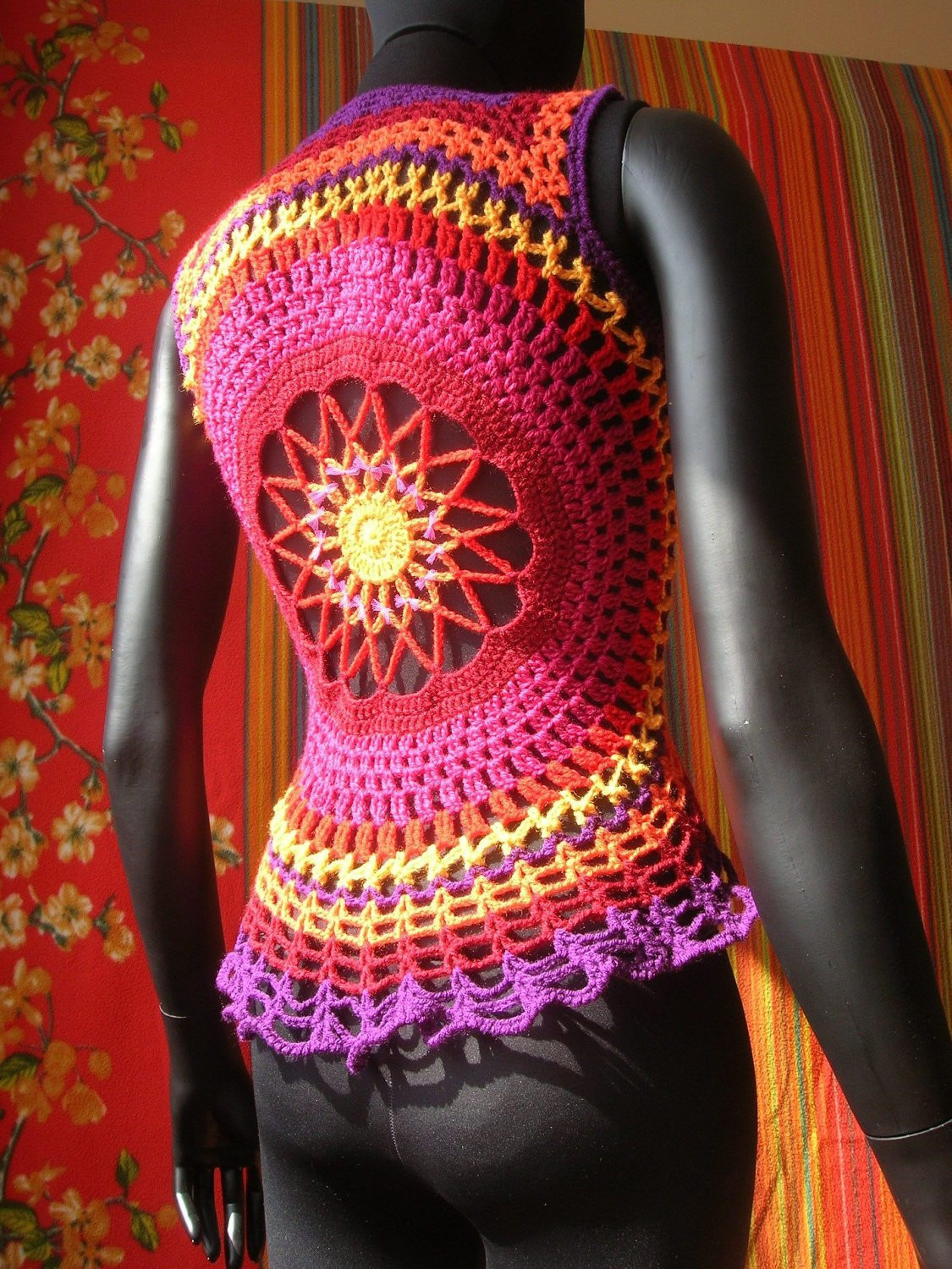 Crochet Mandala Vest Beautiful Fire Flower Mandala Crochet Waistcoat Of Attractive 50 Pics Crochet Mandala Vest