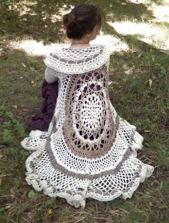 "Crochet Mandala Vest Best Of Crochet Duster Jacket ""emmylou"" Bell Sleeve Lace Of Attractive 50 Pics Crochet Mandala Vest"