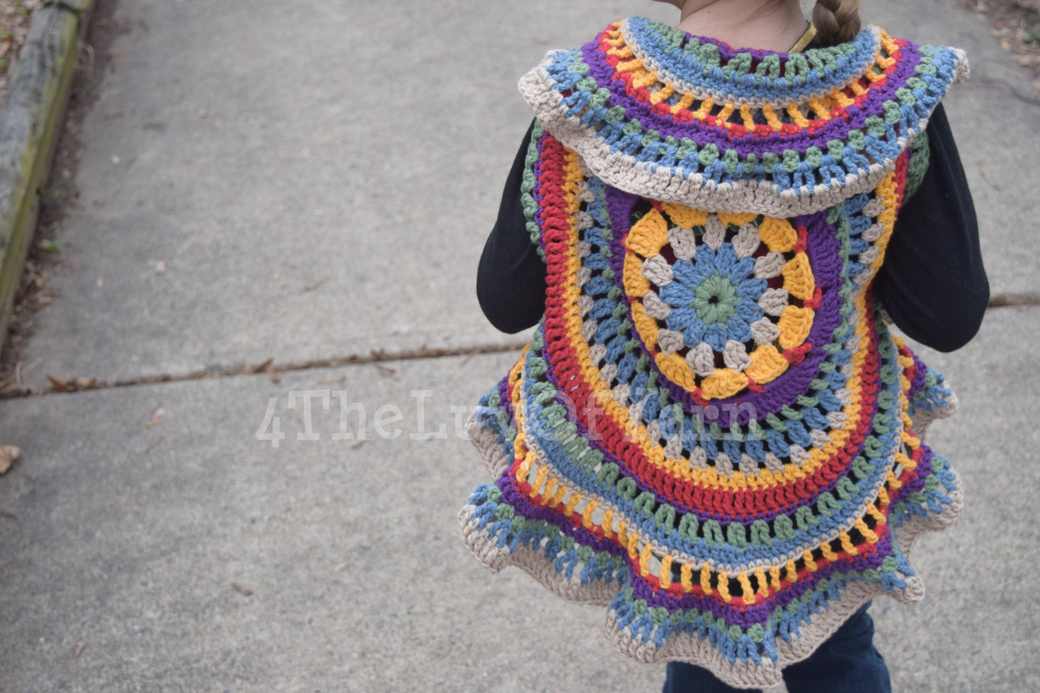 Crochet Mandala Vest Circle Vest Girls Crochet Circle Vest