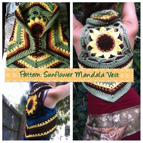 Crochet Mandala Vest Fresh Pattern Sunflower Mandala Crochet Vest by Earthtricks On Etsy Of Attractive 50 Pics Crochet Mandala Vest
