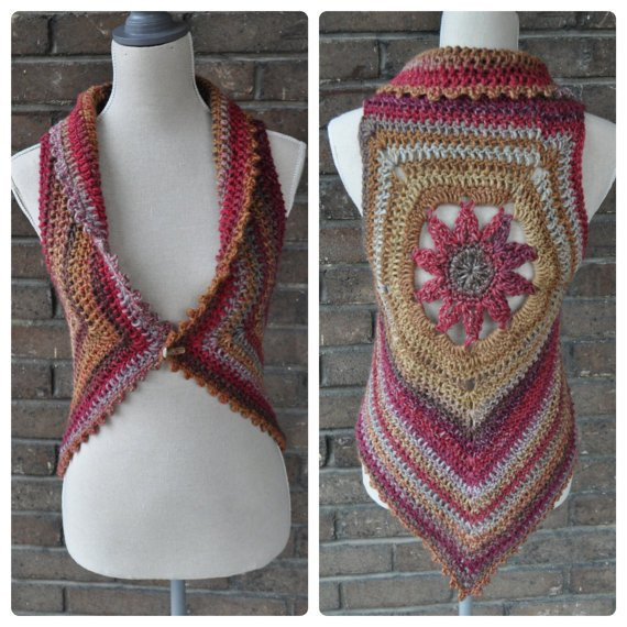 Crochet Mandala Vest Unique Crochet Pattern Blossom Mandala Vest From Mars On Etsy Of Attractive 50 Pics Crochet Mandala Vest