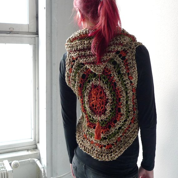 Crochet Mandala Vest Unique Earthy Mandala Circle Vest Crochet Silk Linen Cotton Of Attractive 50 Pics Crochet Mandala Vest