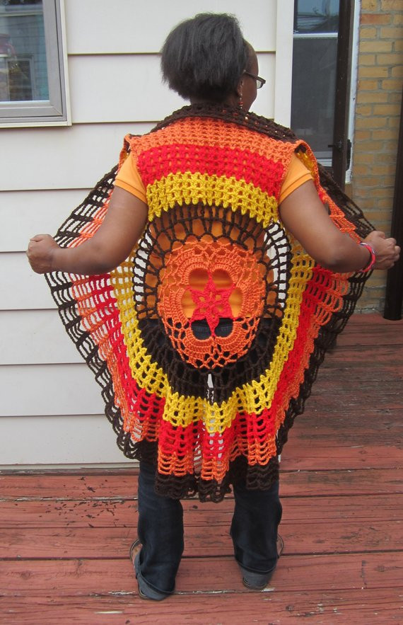 Items similar to Crochet vest circular vest Mandala vest