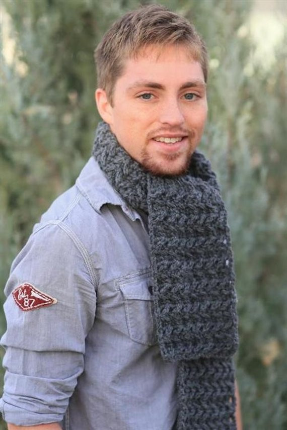 Crochet Mens Scarf Beautiful Items Similar to Scarf for Men Crocheted In Choice Of Of Gorgeous 49 Ideas Crochet Mens Scarf