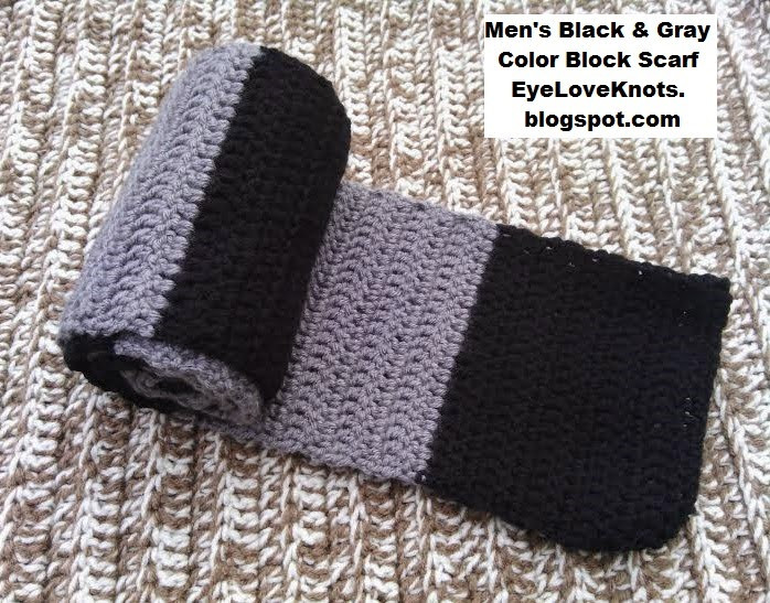 Crochet Mens Scarf Lovely Eyeloveknots Men S Black and Gray Color Block Scarf Of Gorgeous 49 Ideas Crochet Mens Scarf