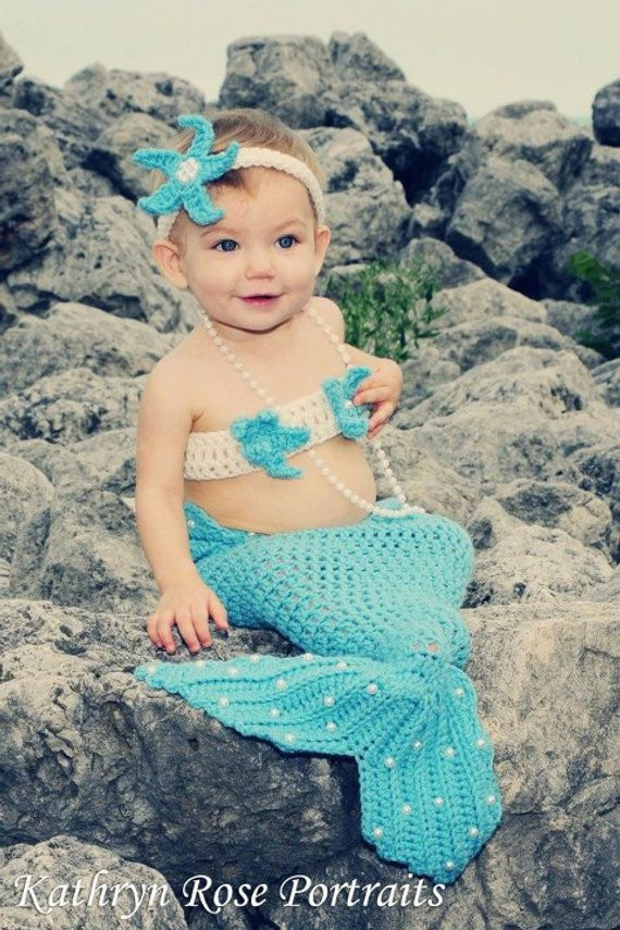 Crochet Mermaid Baby Outfit Lovely Items Similar to Crochet Pearls Mermaid Tail Prop Sets Of Great 49 Pics Crochet Mermaid Baby Outfit