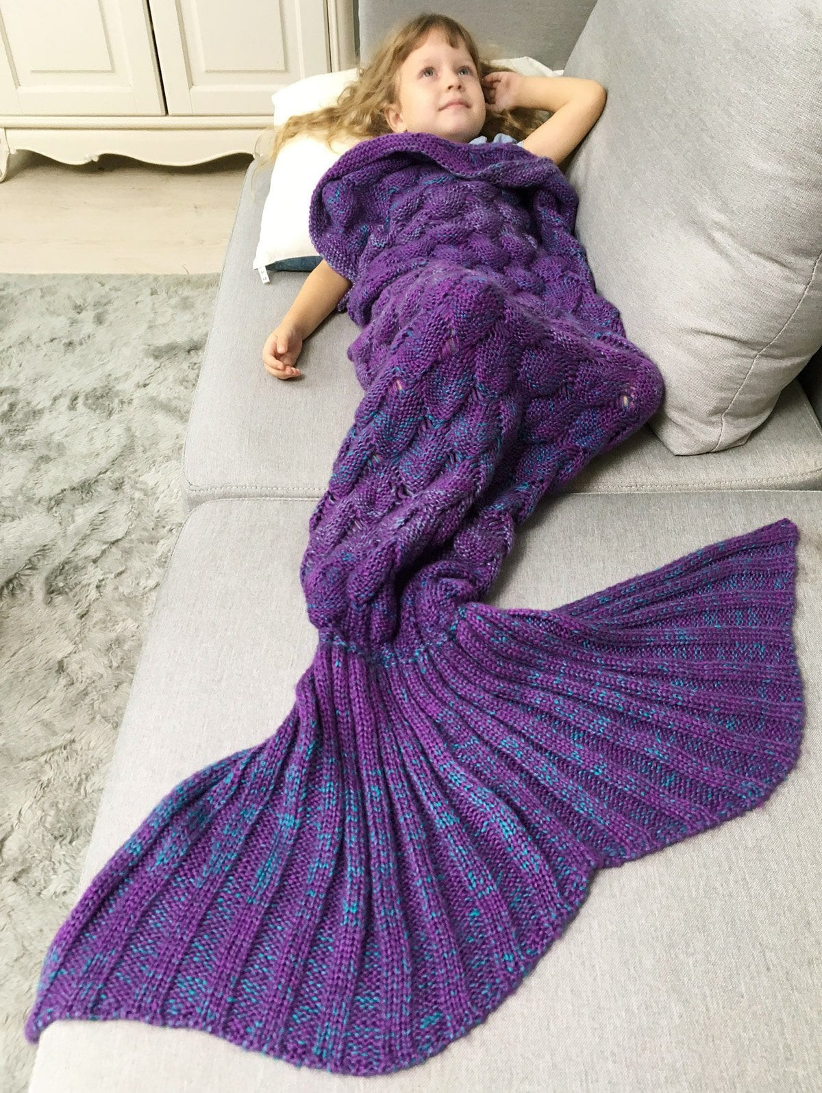 Crochet Mermaid Blanket Awesome Chunky Crochet Knit Mermaid Blanket Throw for Kids Purple Of Unique 48 Images Crochet Mermaid Blanket