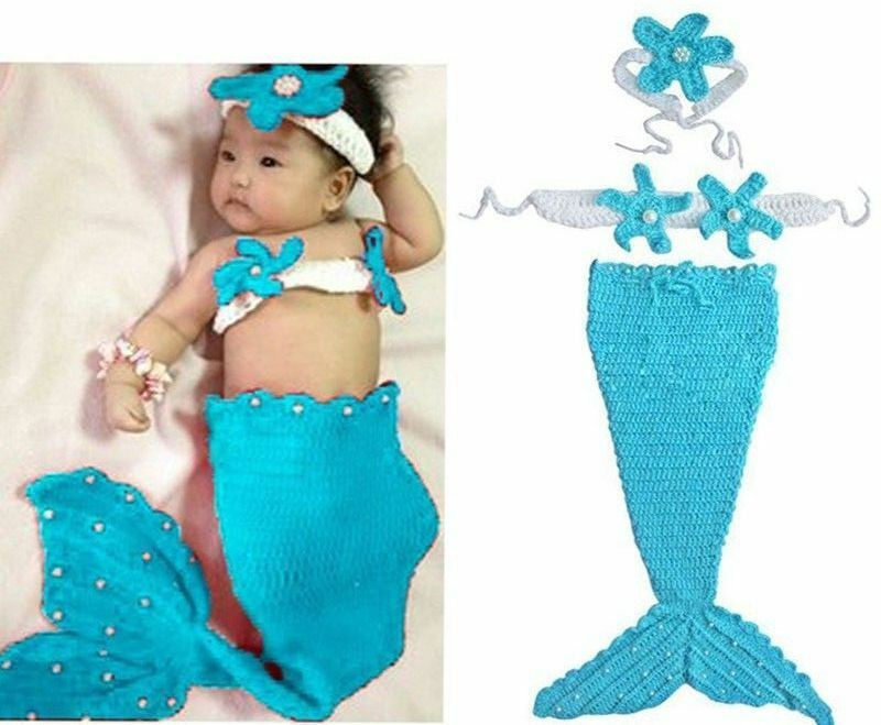 Crochet Mermaid Outfit Beautiful 3pcs Newborn Baby Girl S Mermaid Cloth Crochet Knit Infant Of Contemporary 36 Photos Crochet Mermaid Outfit