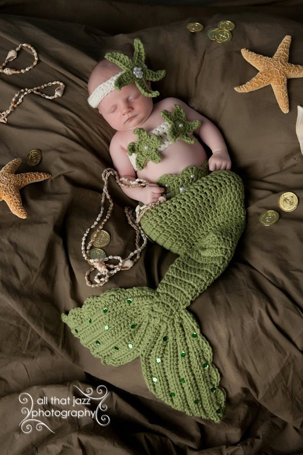 crochet baby mermaid tail prop sets made
