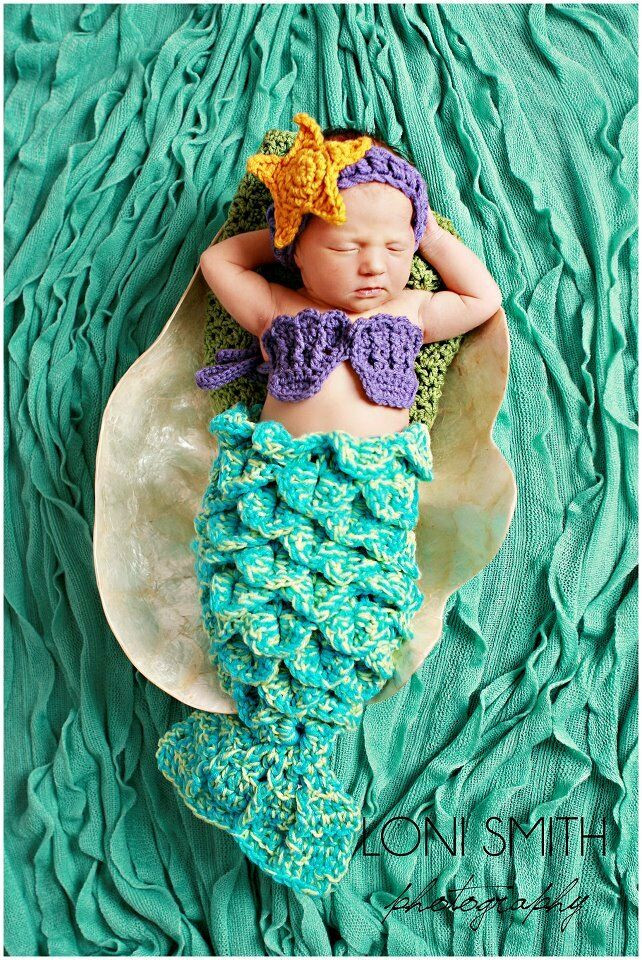 Crochet Mermaid Outfit New Baby Mermaid Tail Shells Tiara Costume Set Crochet Boy Of Contemporary 36 Photos Crochet Mermaid Outfit