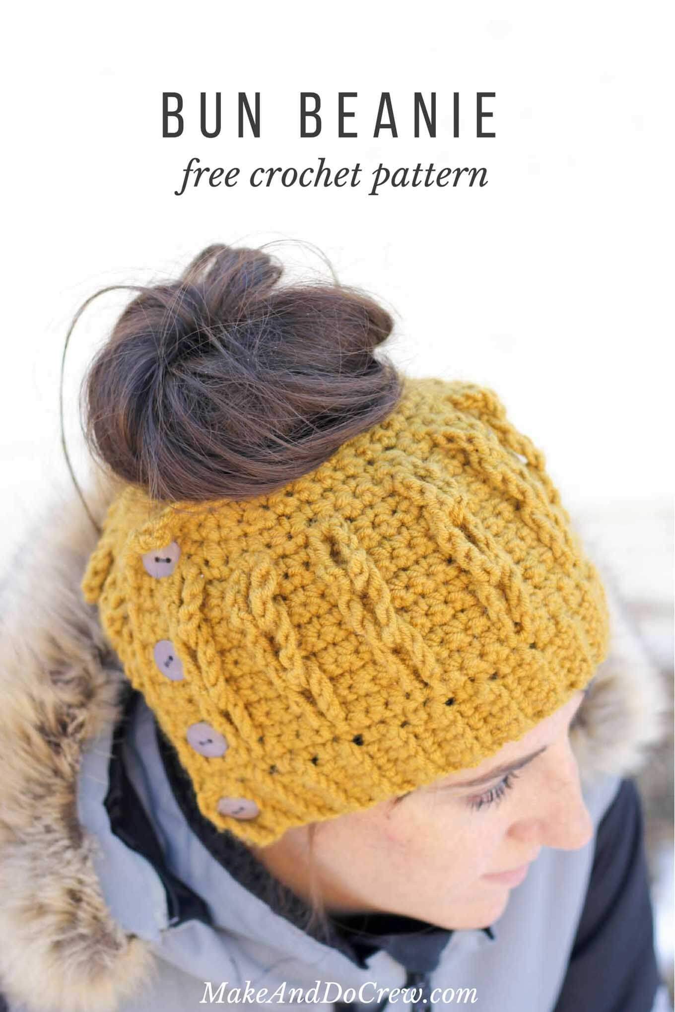 Crochet Messy Bun Beanie Elegant Crochet Bun Beanie with Faux Cables Free Pattern and Of New 43 Photos Crochet Messy Bun Beanie