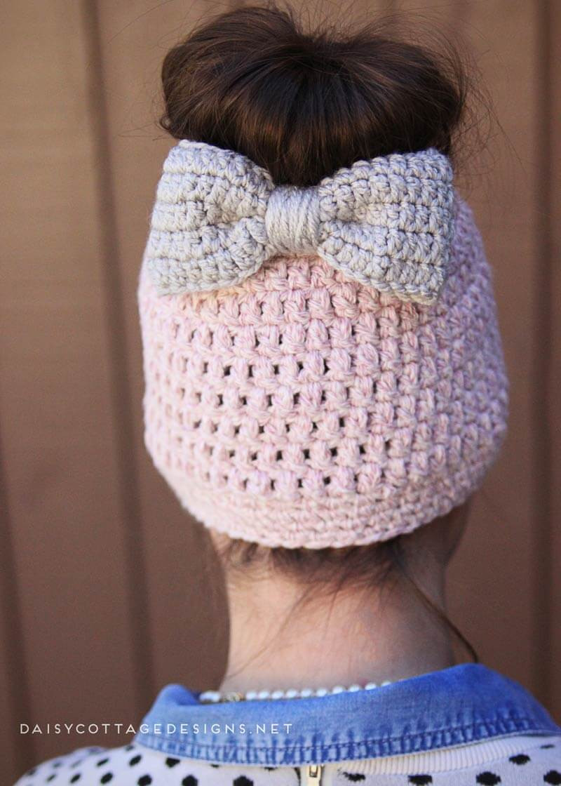 Crochet Messy Bun Beanie Lovely Messy Bun Free Crochet Pattern Daisy Cottage Designs Of New 43 Photos Crochet Messy Bun Beanie