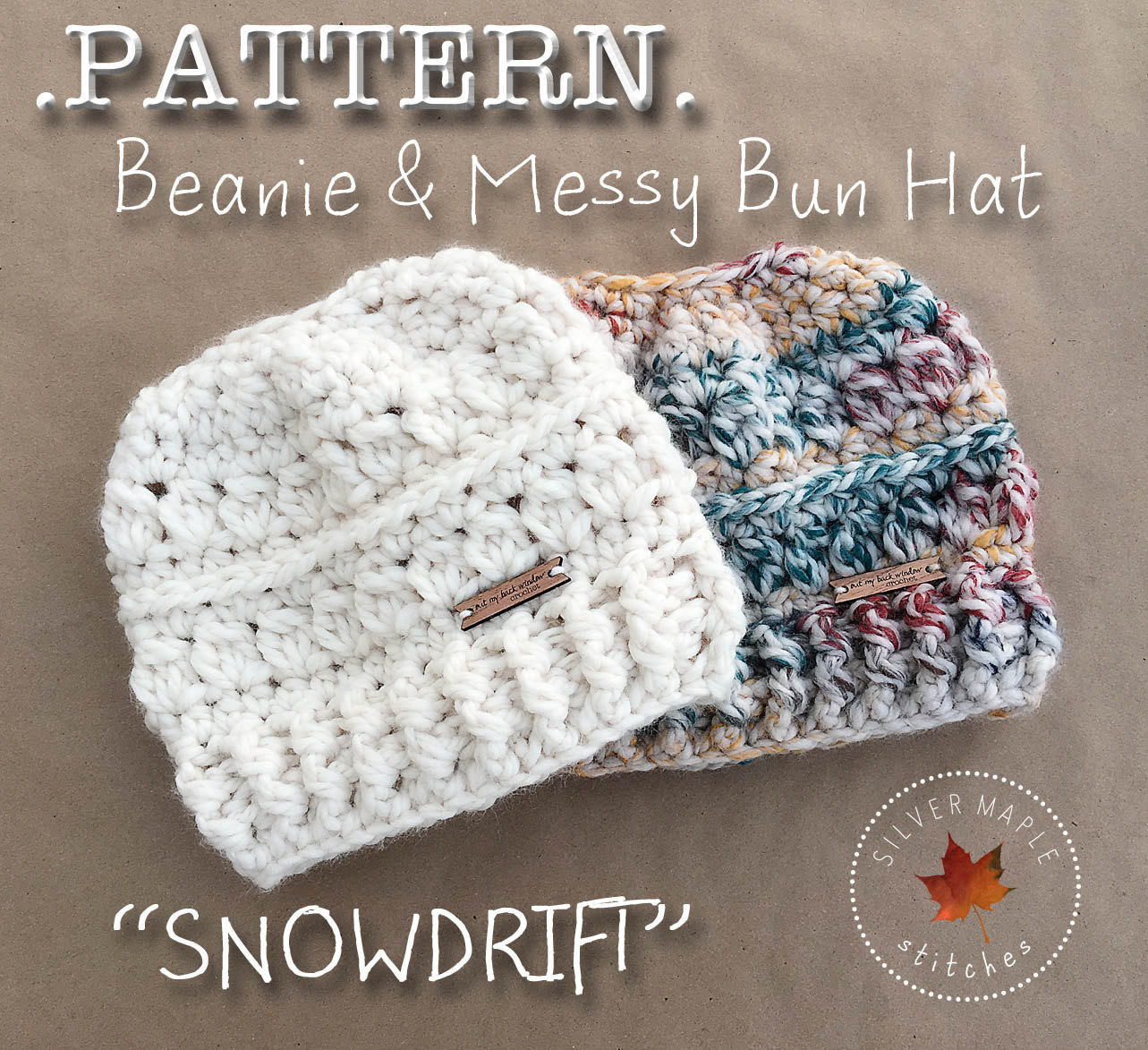 MESSY BUN HAT Pattern Crochet Pattern Crochet Hat Pattern